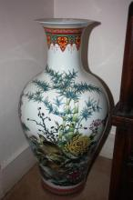 Large Chinese floor vase, decorated with birds, flowers and bamboo with calligraphy detail and character marks to base, 68cm T