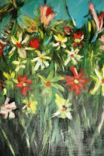 Pro Hart, 'Wildflowers' oil on board, signed, 50 x 40cm, comes with copy of original art show catalogue, when purchased dated 1990
