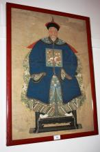 Antique Chinese ancestor painting showing a seated figure in full ceremonial robes on throne, some creases, folds, minor tears etc, 69 x 48cm