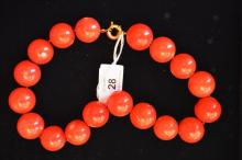 Large red coral beaded necklace