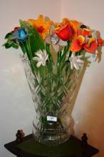 Large cut crystal vase containing a large number of blown glass flowers & leaves, vase 36cm T