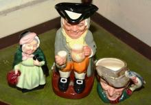 3 x Royal Doulton pieces incl. a Toby jug 'Happy John', a character jug 'The Poacher', small size and a figurine 'Sairey Gamp'