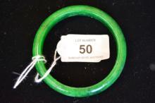 Green jade bangle, flat inner edge