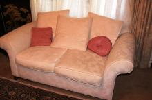 Pair of ivory damask 2 seater sofas, made by H&J Furniture with scatter cushions etc, each 175cm W
