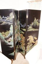 An ornate Chinese floor screen, 4 fold, double sided, hand painted by a leading artist, one side with a mountain landscape scene and the other with birds, 182cm T