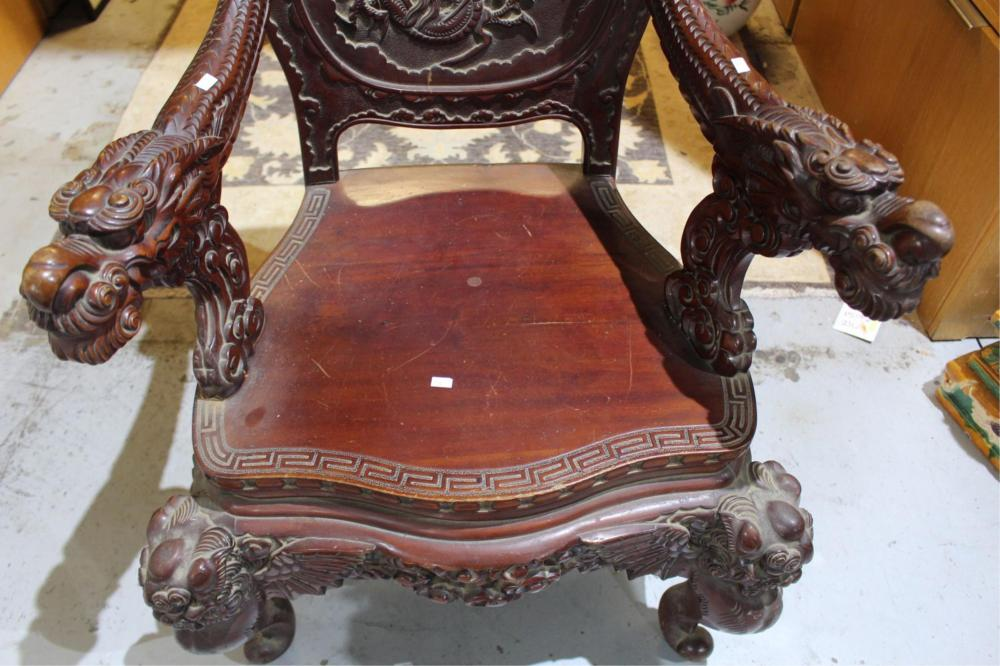 Asian hardwood dragon armchair,