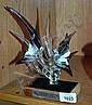 Hand-made glass sculpture of 2 birds amongst