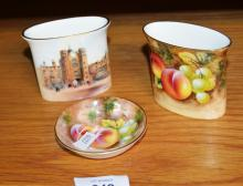3 pieces of Royal Worcester incl. fruit decorated toothpick holder and jam dish and another toothpick holder showing St Jame's palace, each piece signed