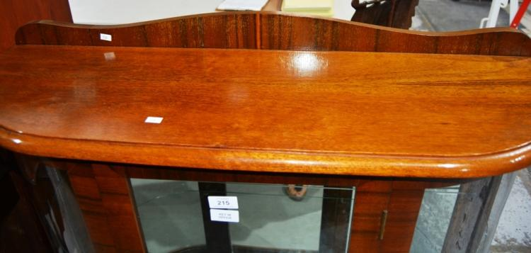Art Deco Qld Walnut China Display Cabinet Single Door Curv