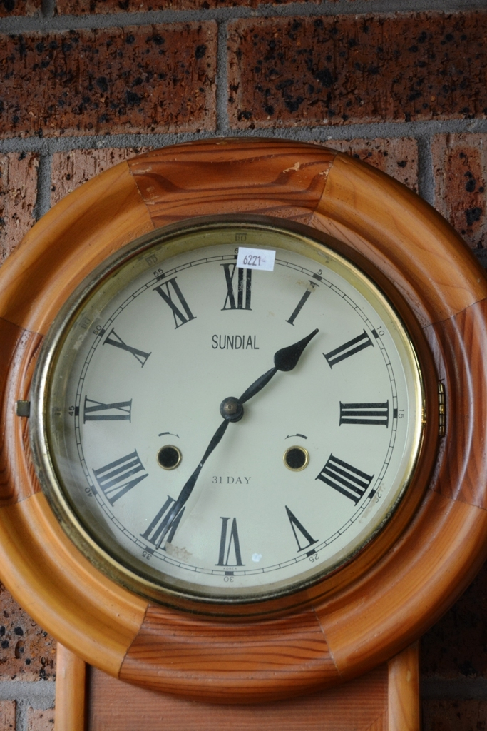 31 Day Wall Clock Pine Cased Comes With Key Amp Pendulum