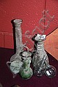Collection of 6 various old glass bottles & vases