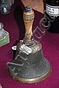 Antique bronze hand bell with turned wooden