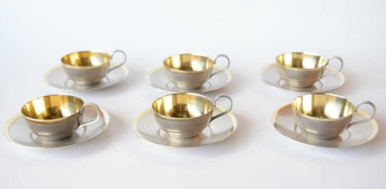 Set of 6 Russian silverplate teacups & saucers,