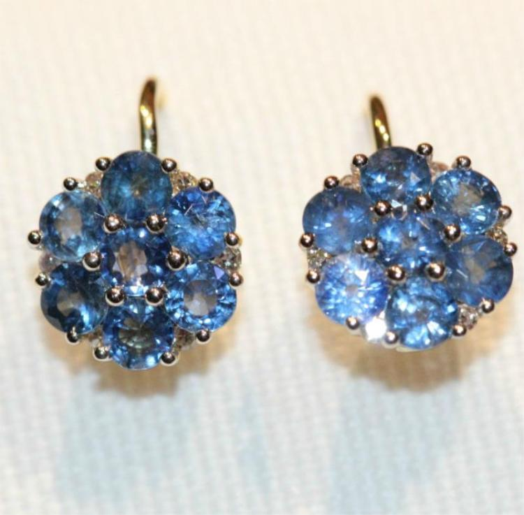 Pair 18ct yellow gold, sapphire cluster earrings,