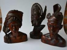 3 good Indonesian wooden carvings,