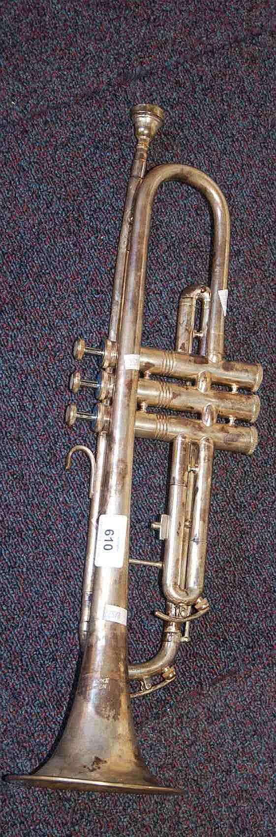 Vintage silver plate trumpet by J R  Lafleur,