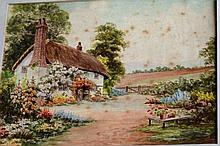 Early English school watercolour, thatched cottage