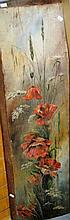 W.M. Juwkes? oil on kauri pine board, 'Poppies'