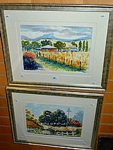 Henry Harrison, pair watercolours 'Linda's farm' &