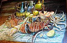 Rouchon, oil on canvas, still life of sea food on