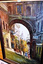 Artist unknown oil on board, French street scene,