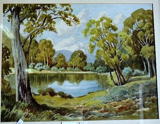 George Ansdell, watercolour, lake scene,