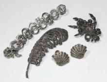 Qty vintage marcasite jewellery