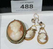 Qty of cameo jewellery to incl. costume cameo