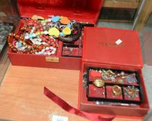 2 boxes of various costume jewellery to incl.