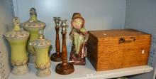 Pair of wooden candlestick holders,