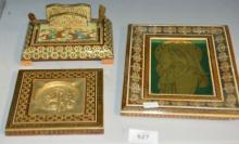 3 x inlaid marquetry items to incl. framed image