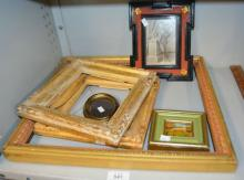 6 various frames, one with small artwork inside,