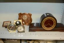 6 various clocks incl. timber, mantel, copper,