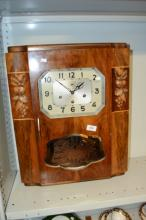 Unusual mantel clock, timber cased with
