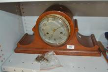 Napoleon hat style timber mantel clock, AF to face