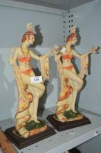 Pair of resin carved figurines of dancing ladies,