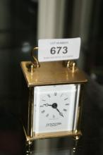 Brass carriage clock, made in England,