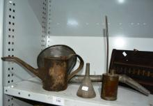Collection of rustic oil funnels, pourer etc