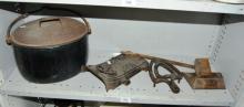 Meters stove front, iron trivet,