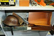 Box of sundries incl. lantern shade, leather