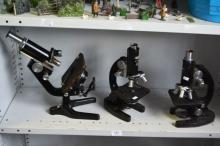 3 vintage laboratory microscopes