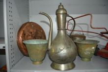 Qty of Middle Eastern brass and metalware incl.