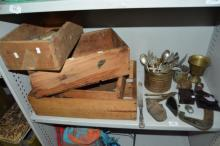Collection of rustic timber boxes, plus brassware