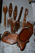 Collection of hand carved tribal timber items,