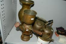 Collection of early brassware incl. coffee