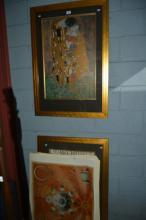 2 x Gustav Klimt prints, both framed behind glass,