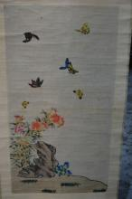 Chinese scroll with Butterflies & flowers, signed