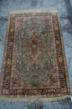 Vintage hand made Kashmir pure silk rug,