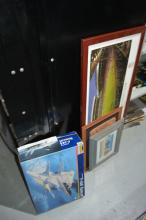 3 framed artworks, one Revell F14 Tomcat model,