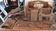 Collection of cast iron fire box pieces